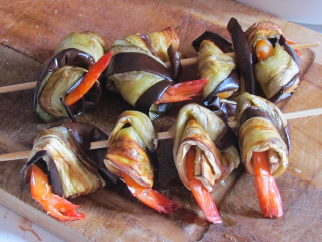 Aubergines aux crevettes