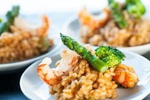 asperges vertes aux crevettes