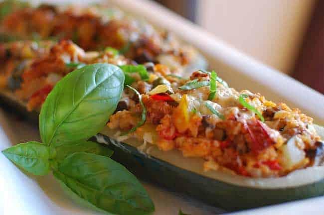 Courgettes farcies aux tomates cerises et au riz