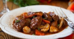 bœuf bourguignon aux champignons
